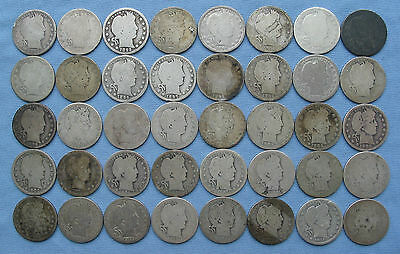 40 Barber Quarters 1892-1916 ($10 face, 1 roll, circulated 90% silver coins)
