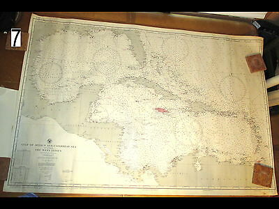 Vintage WWII Era 1942 Navy Nautical Chart Maritime Map Gulf Mexico Caribbean Sea