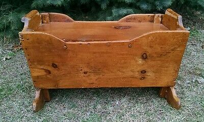 Antique Primitive Vintage Wood Baby Cradle Coffee Table End/Side Table Storage