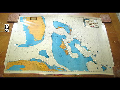 Vintage 1984 Nautical Chart Maritime Map South Florida & Bahamas Teall's Tides