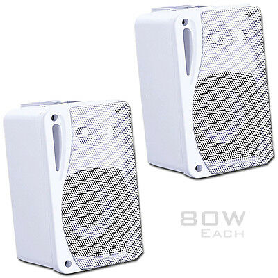 Pair of Wall Speakers White 80W Incl Wall Brackets Retail Shop, Home Surround
