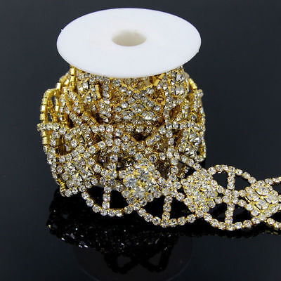 1 Yard Clear Crystal Rhinestone Gold/Silver Costume Sewing Trims Applique Chain