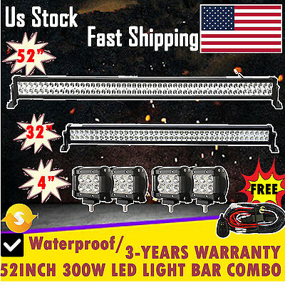 """52""""LED LIGHT BAR + 32in + 4INCH CREE WORK PODS OFFROAD SUV 4WD FORD JEEP ATV 50"""