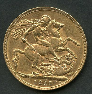 Great Britain 1911  Gold Sovereign Contains .2354 Ounces Of Pure Gold You Grade