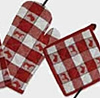 Horsey Kitchen HORSE Design Red Check Potholder ONLY set of 2 CLEARANCE SALE