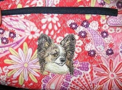 Q cosmetic PAPILLON BROWN Quilted Pink Floral Double Zipper Fabric Cosmetic Bag