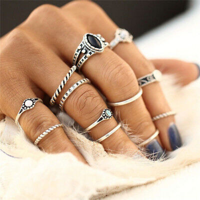 12Pcs/Set Vintage Gold Silver Midi Finger Knuckle Rings Fashion Women Jewelry