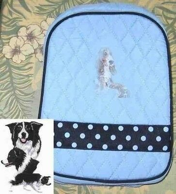 Q lunch BORDER COLLIE Quilted LIGHT BLUE Insulated Fabric Lunch Sack