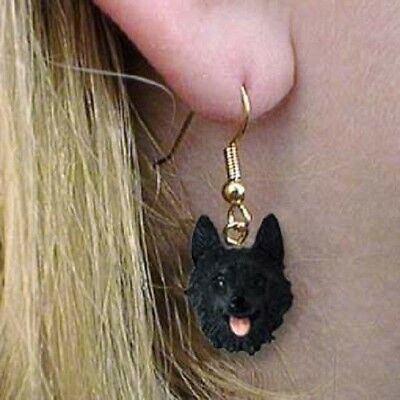 Dangle French Wire SCHIPPERKE Dog Head Earrings
