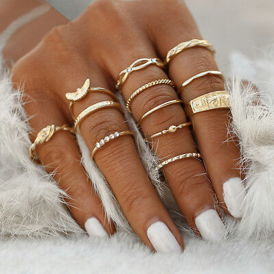 12Pcs/Set Vintage Gold Boho Midi Finger Knuckle Rings Fashion Women Jewelry Gift