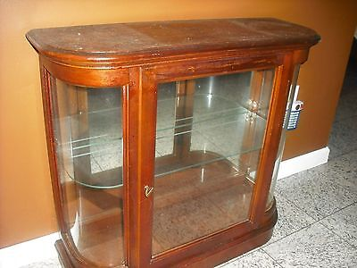 Vintage Wood Bow Front Glass Mirror Back Lighted Display Case