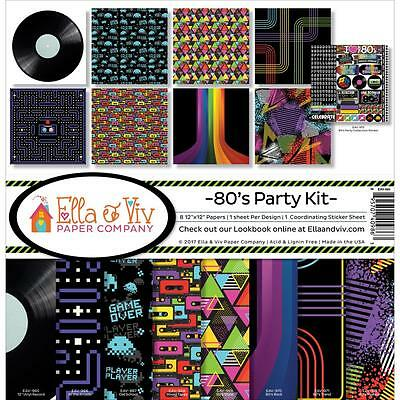 "Ella & Viv Paper Company 12x12"" Scrapbooking Kit - 80's PARTY"