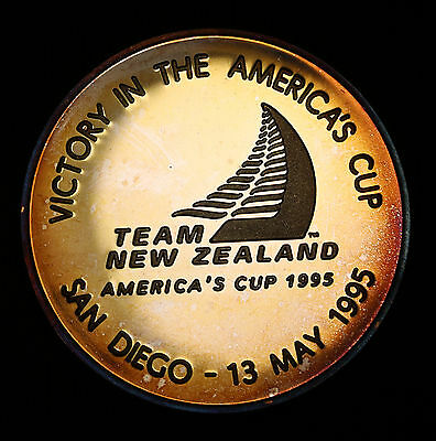 1995 New Zealand America's Cup Victory Cased Medal 999 Silver 58g FDC & Scarce