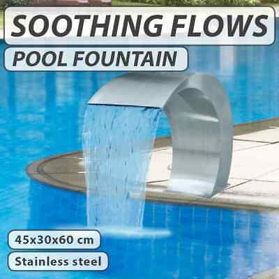 Water Feature Stainless Steel Waterfall Fountain Swimming Pool 45x30x60cm Garden