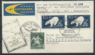 DDR Lufthansa Luftpost-Brief Hamburg - Montevideo, 1957 (51556
