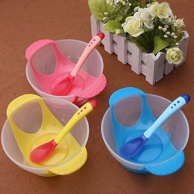 1 Set Baby Kid Feeding Tool Suction Bowl With Temperature Colors Change Spoon SW