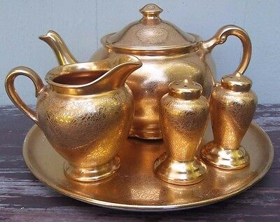 Wheeling - Gold Encrusted Teapot / Creamer / Salt / Pepper & Tray