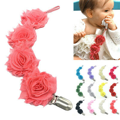 Newborn Baby Girls Rose Flower Dummy Pacifier Clip Teething Soother Holder Chain