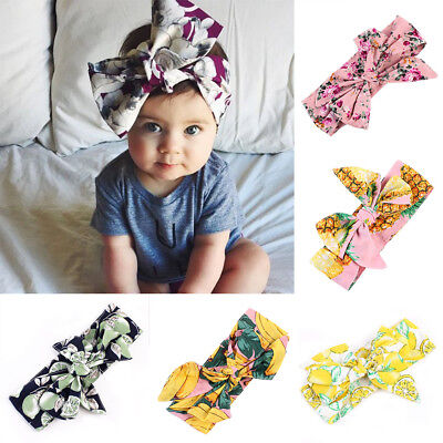 Newborn Kids Baby Girls Infant Fruits Rabbit Bow Hairband Headband Headwear Knot