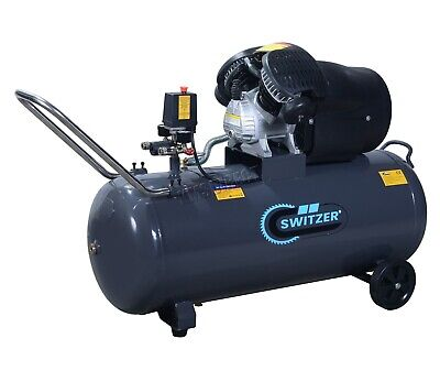 SwitZer Air Compressor 100L Litre LTR 3HP 8 BAR 230V 14CFM + Wheel AC005 Grey