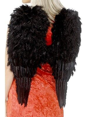 Feathered Black Angel Wings Halloween Christmas Fancy Dress Costume Accessory