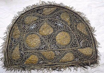 Vintage Victorian Hand Embroidered Tea Cosy Cover  - Gold Wire Thread