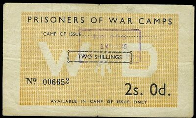 Great Britain 1945 Prisoners Of War Camp General Issue 2 Shillings  Very Rare!
