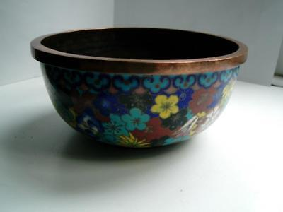 Antique Chinese cloisonne bronze bowl table gong Millefleur flowers early 19thC