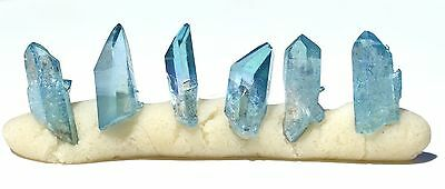 Aqua Aura Arkansas Quartz 1 lot 6 crystals L 15-17mm W 5-7mm