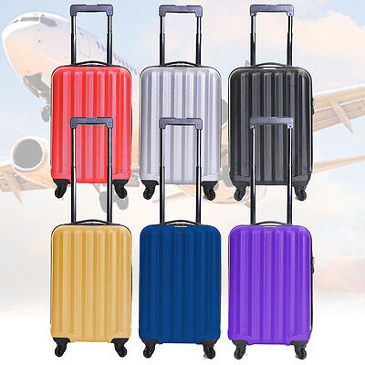 4 Wheels Super Lightweight Hard Shell Trolley Cases Suitcase Luggage Cabin Bag
