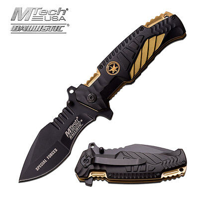 Mtech Black & Tan Special Forces Spring Assist Assisted Knife Knives #A944TN