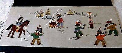 Stunning Vintage Hand Worked Applique Panel - Red Indian Children Playing