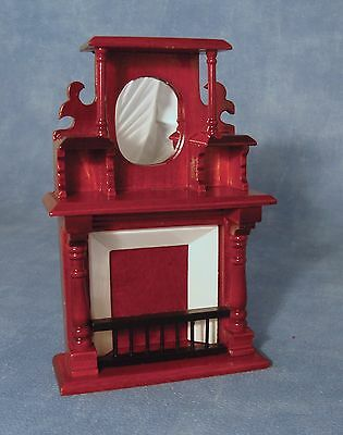 1/12  Dolls House  Mahogany Fireplace With Overmantel