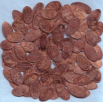 (Z) Lot Of 50 Elongated Pennies ~ All Different Designs ~ No Duplicates