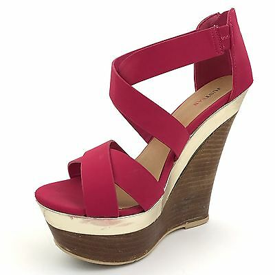 Just Fab Womens Size 7 Platform Strappy High Heel Shoes Wedge Sandals