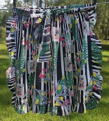 FINAL LIST COOL VINTAGE 1940-50s APRON~GREAT FEED SACK MATERIAL~RUFFLE EDGE