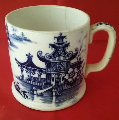 Antique 18/19th C Chinese Porcelain  Blue and White Mug Tankard Selling as Seen