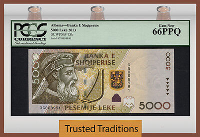 TT PK 75b 2013 ALBANIA 5000 LEKE PCGS 66 PPQ GEM NEW NONE GRADED FINER! AMAZING!