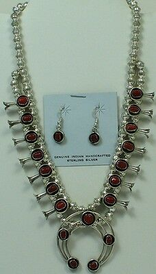 Navajo Indian Squash Blossom Set Necklace Earrings Coral Sterling Silver Lenora
