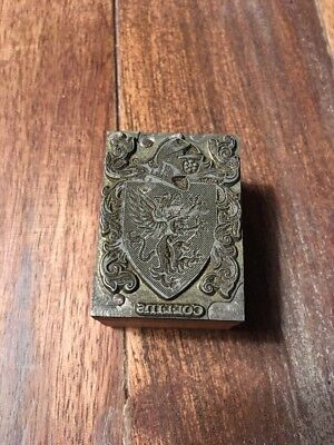 Antique Crest Of Collins Family Wood Block Stamp