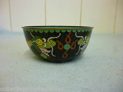 Ref 002 Vintage Chinese Cloisonne Five Toe  Dragon Bowl