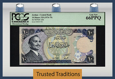 TT PK 20b 1976-79 JORDAN 10 DINARS CENTRAL BANK PCGS 66 PPQ POP ONE NONE FINER!