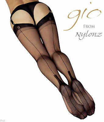 Gio Fully Fashioned Stockings - BLACK Cuban Heel - Imperfects