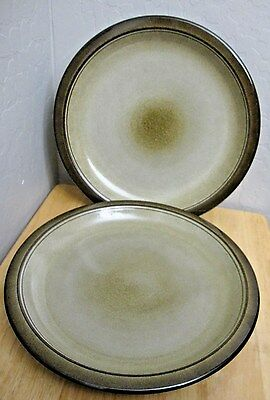 2 Heath Ceramics Green Brown Rimmed Dinner Plates