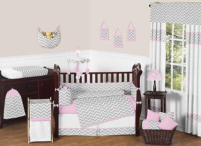 Sweet Jojo Modern Pink Gray and White Chevron Zigzag Baby Girl Crib Bedding Set