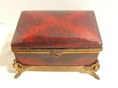 Sevres Porcelain Box Bronze Ormolu Mounts Red Flambe Glaze