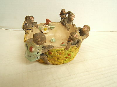 Very Detailed Japanese Bowl 19Th Century Studio Pottery Monkeys