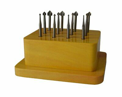 12 Piece Setting Bur Set w/ Wooden Stand Stone Setting Filing Jewelry Making