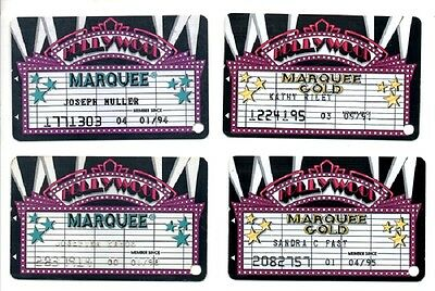 4 Obsolete Sands Hollywood Marquee Players Slot Comp Card Atlantic City Casino