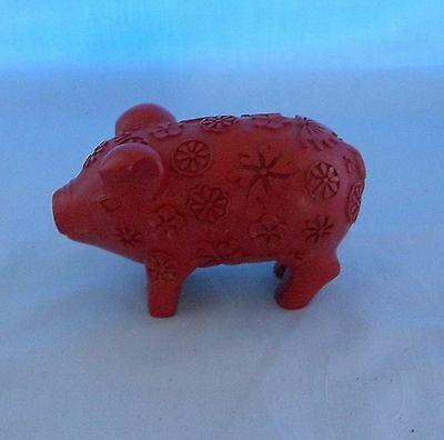 Small Red Hippie Pig Figurine Flower Child